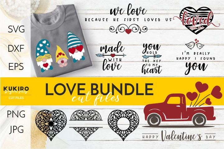 LOVE Bundle SVG - Valentines day - Gnomes, red truck hearts