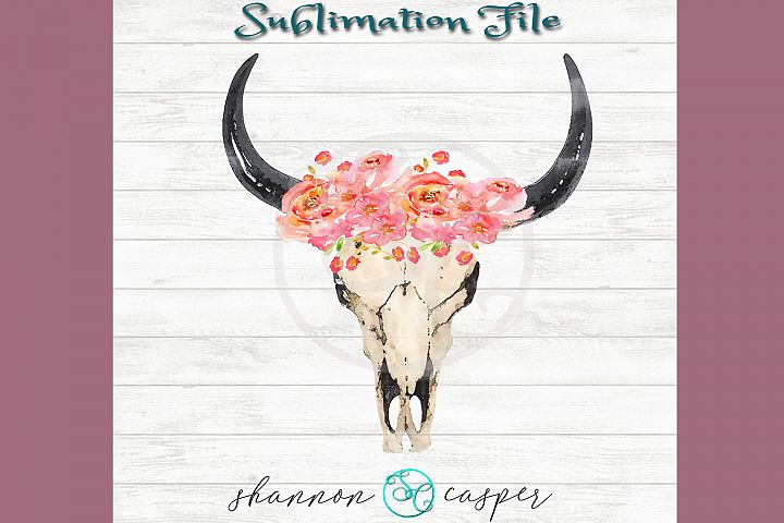 Boho Cow Skull with watercolor flowers  Sublimation File