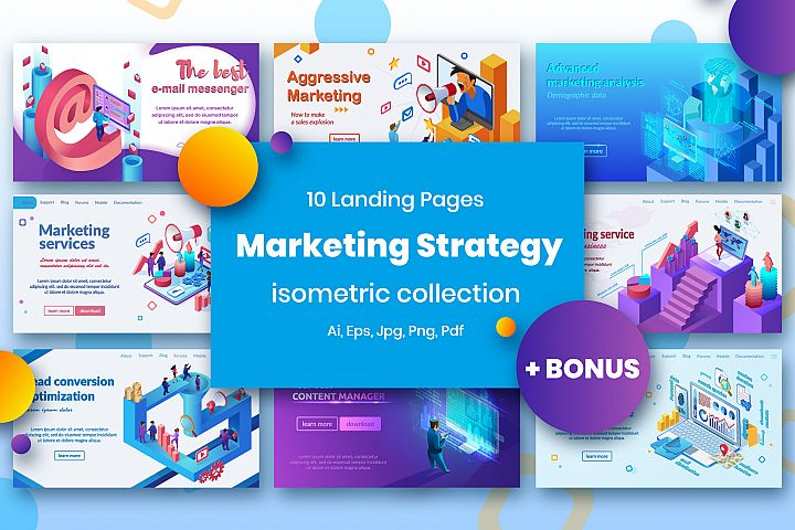 Marketing Tools Isometric Design