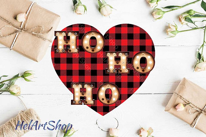 Ho Ho Ho Buffalo Plaid Sublimation design png file.