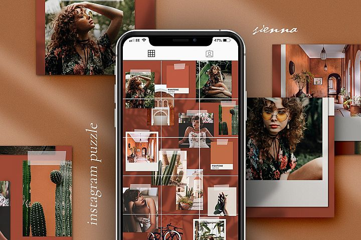 Sienna Instagram puzzle template for Canva