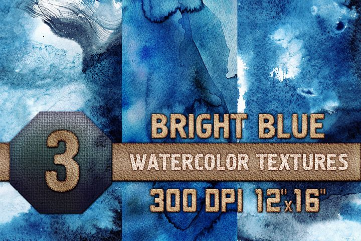Bright Blue Watercolor Texture Digital Papers Scrapbooking