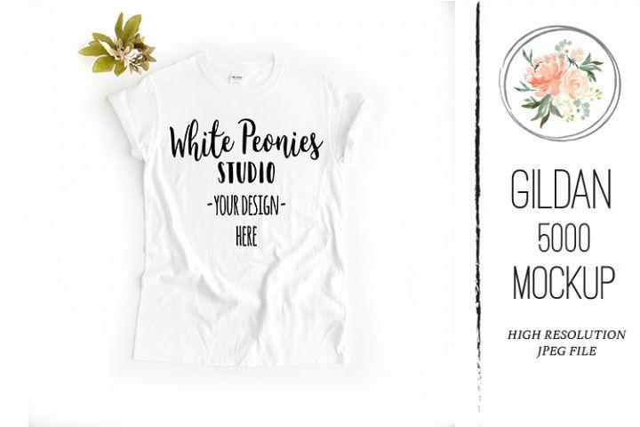 White GILDAN 5000 Shirt Mockup with plant