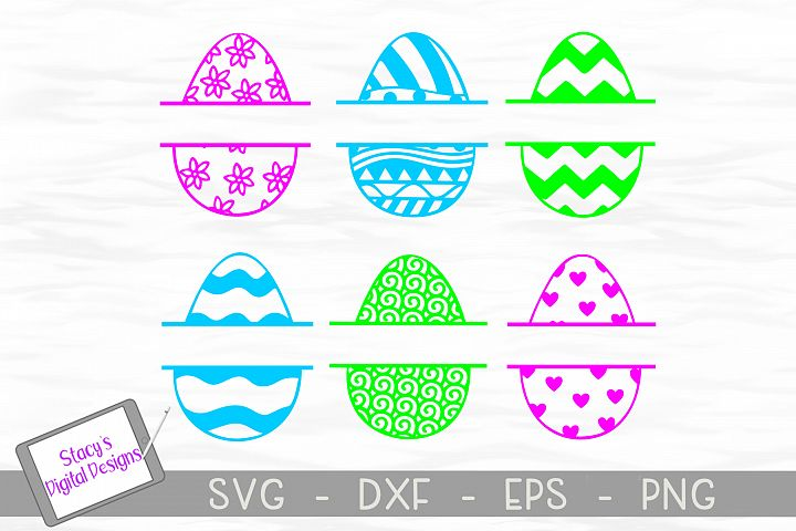 Easter SVG Bundle - Easter Egg Split Monogram - 6 Patterns