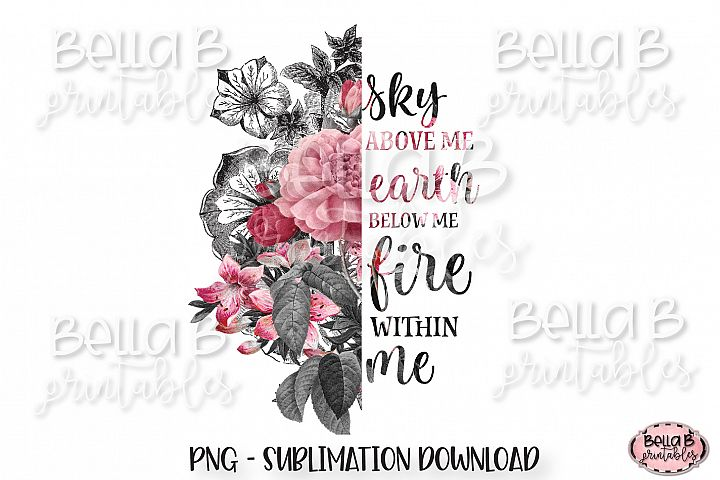 Floral Sublimation Design, Half Flower Sublimation, Boho