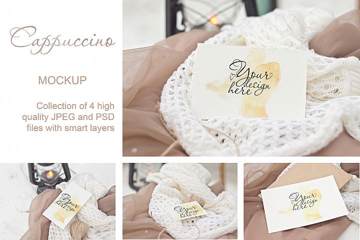 Cappuccino. Stationery Mockup Card