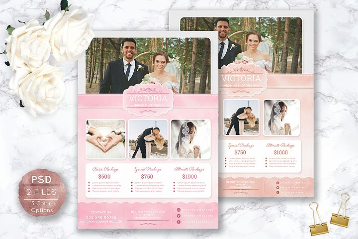 Soft Watercolor Wedding Photography Flyer
