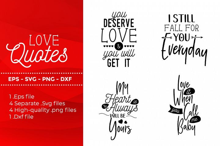 Love Quotes - SVG, DXF, PNG, EPS file