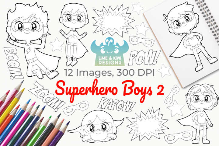 Superhero Boys 2 Digital Stamps
