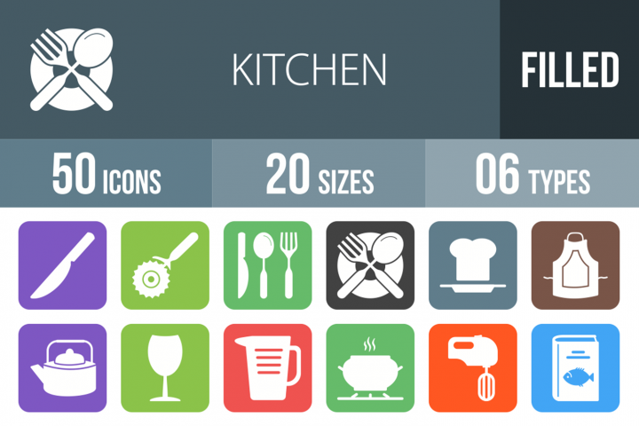 50 Kitchen Filled Round Corner Icons