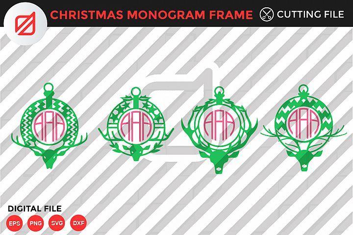 Christmas Monogram Frame Bundle Cutting File-SVG