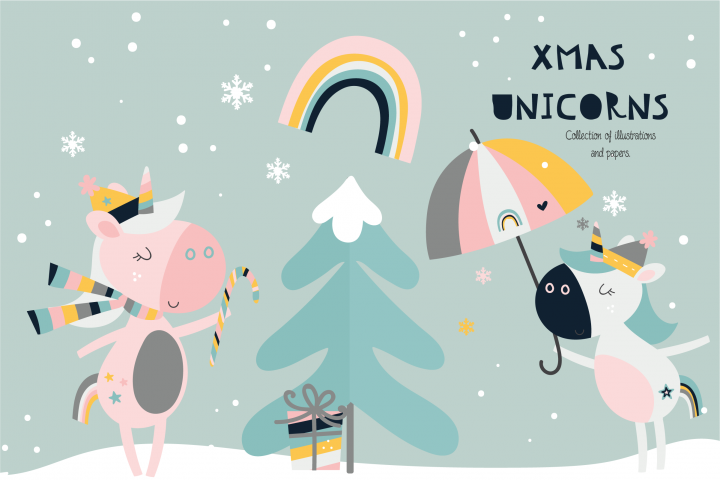 Xmas Unicorns clipart and paper set