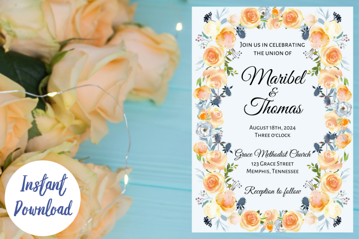 Peach and Dusk Blue Watercolor Wedding Invitation