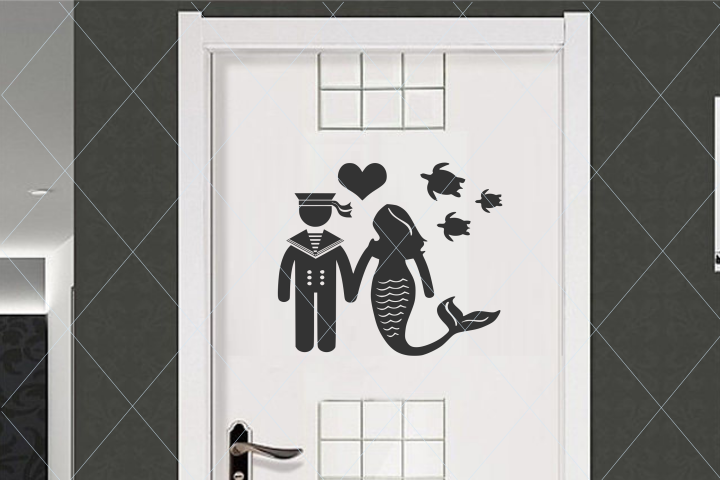Restroom sign, sailor and mermaid, turtle svg, couple svg