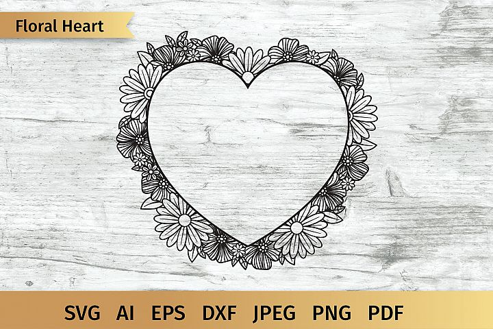 Heart Floral Frame SVG