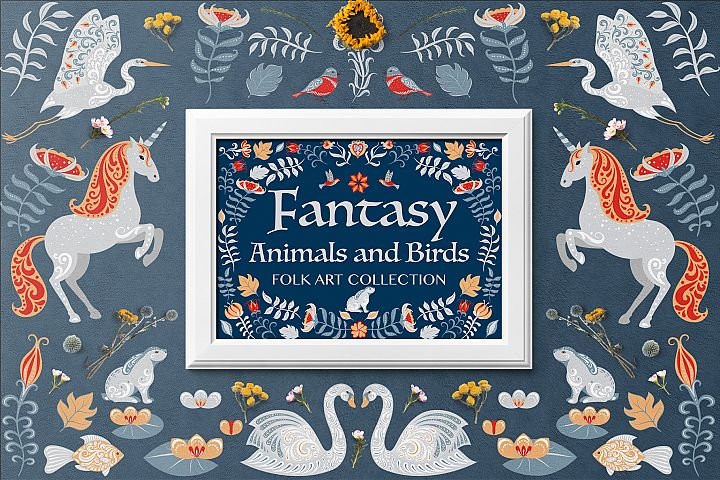 FANTASY ANIMALS AND BIRDS. FOLK ART COLLECTION
