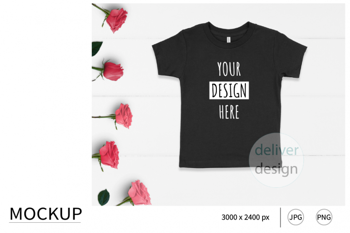 Black Unisex Toddler Mockup. Bella Canvas 3001T. Roses.