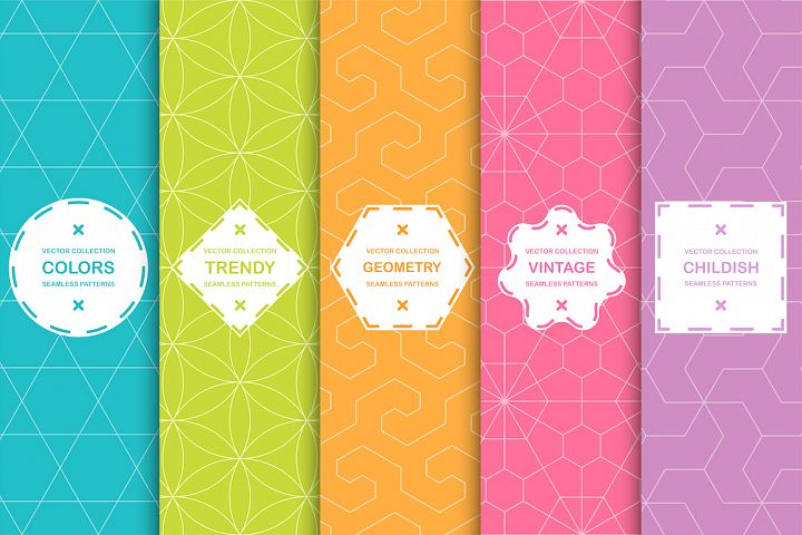 Color seamless ornamental patterns