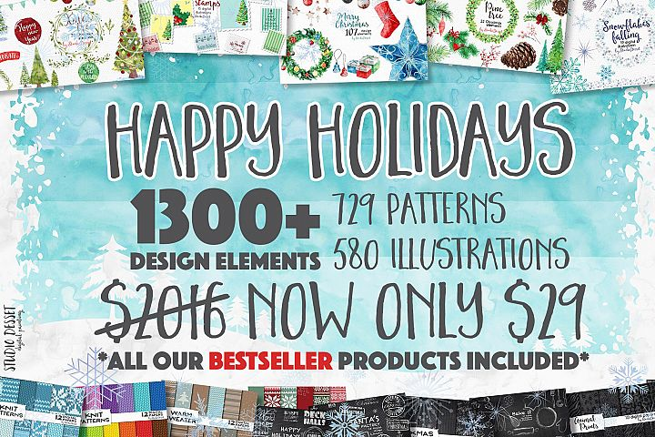 Christmas Super Bundle of Patterns and Illustrations