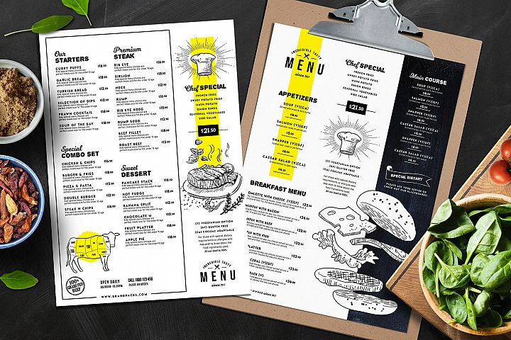 A4 Food Menu Templates