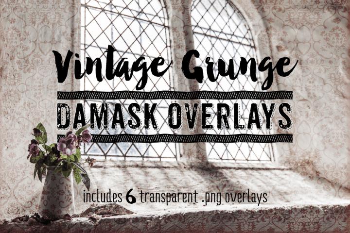 Damask Textures - Vintage Grunge Damask Overlay Textures