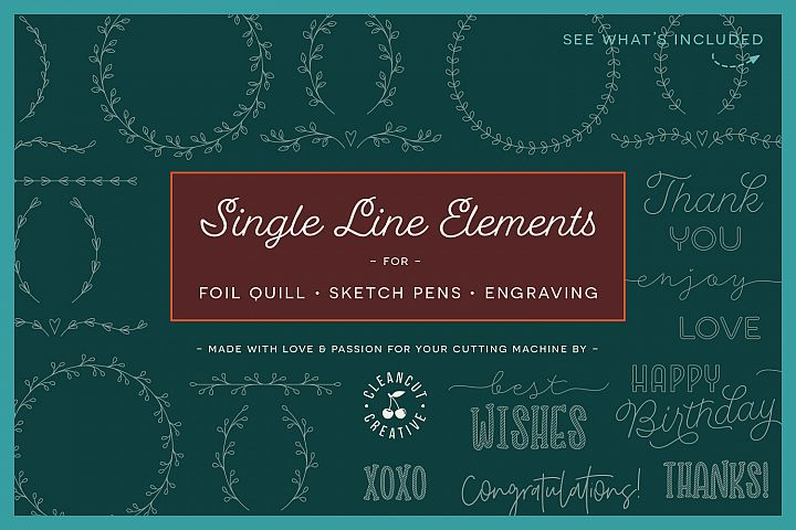 Single Line | Foil Quill | Sketch | Engrave SVG design file