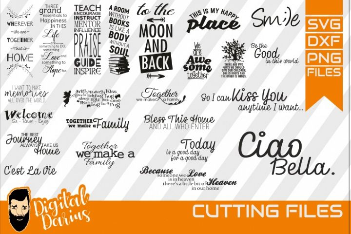 23x Family quote Bundle svg, Home svg, Together, Ciao Bella