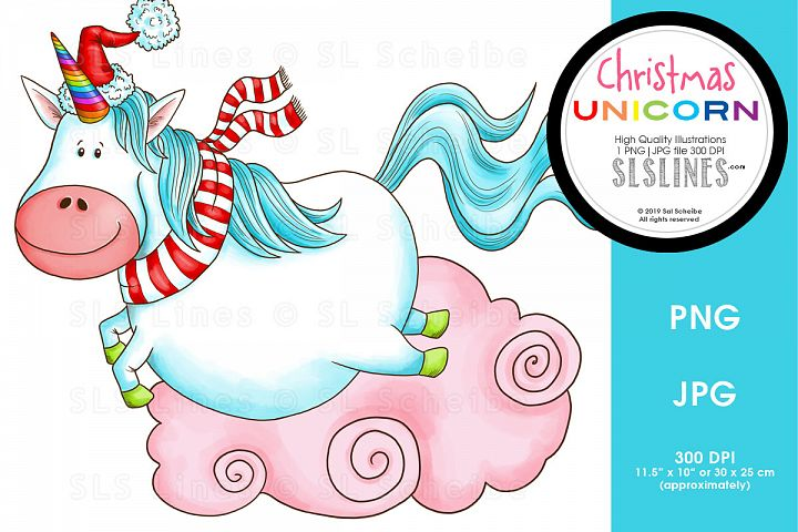 Leaping Christmas Unicorn PNG
