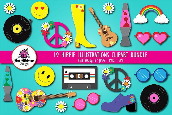Hippie Clipart Illustration Bundle