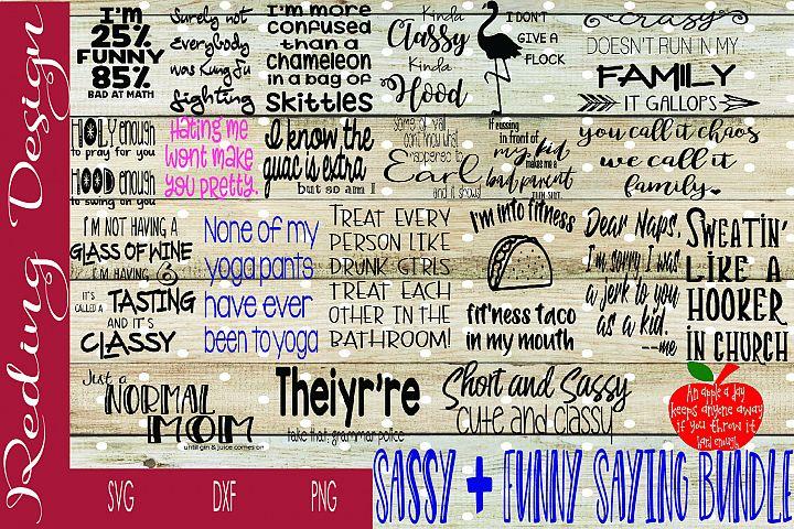 Bundle Funny Sassy Sayings SVG DXF PNG Digital Cut Files