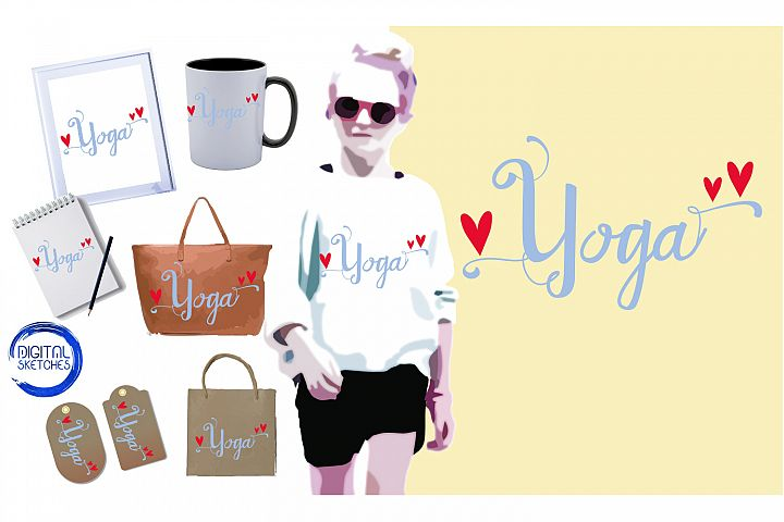 Saying Yoga Heart Cut File Vector Graphics Illustration