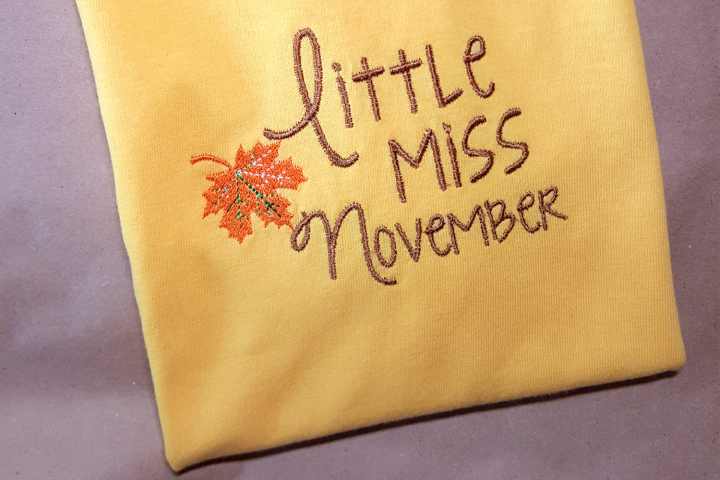 Little Miss November Fall Leaf Applique Embroidery Design