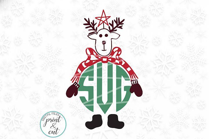 Vintage Old style deer Reindeer head monogram svg dxf cut