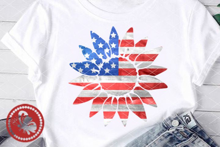 Sunflower USA flag Sublimation designs downloads png America