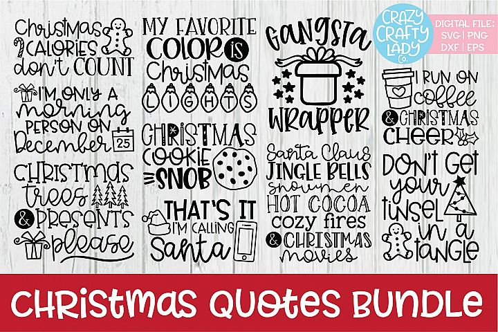 Christmas Quotes SVG DXF EPS PNG Cut File Bundle