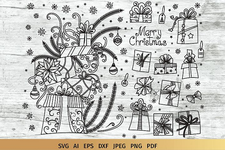 Christmas Gifts Doodles SVG