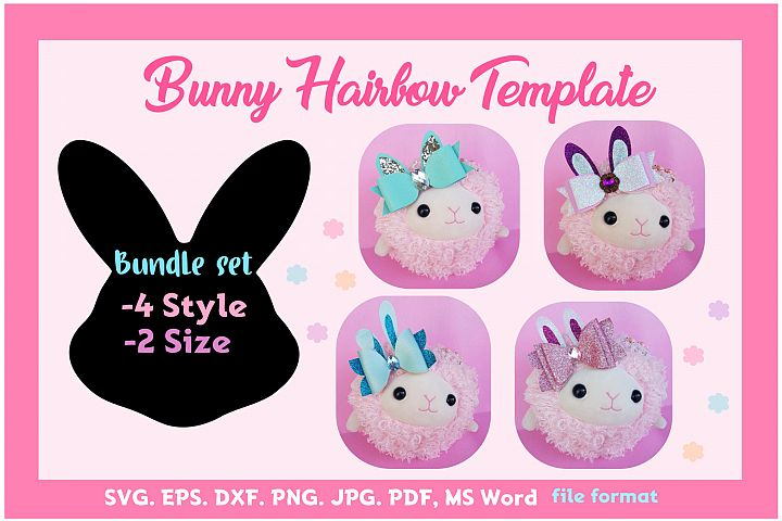 Bunny Hair Bow Template Bundle of 4style 2size SVG, PDF