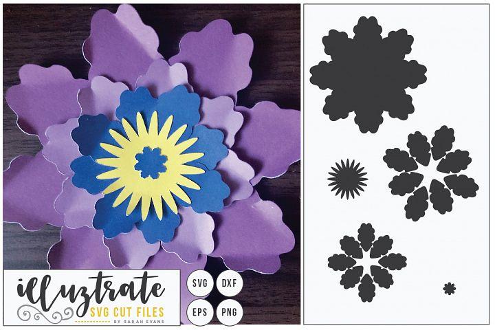 Layered Flower SVG Cut File, Paper Cutting, Paper Cut Flower