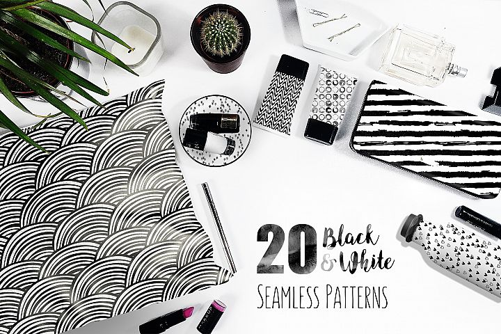 20 Black and White Seamless Patterns
