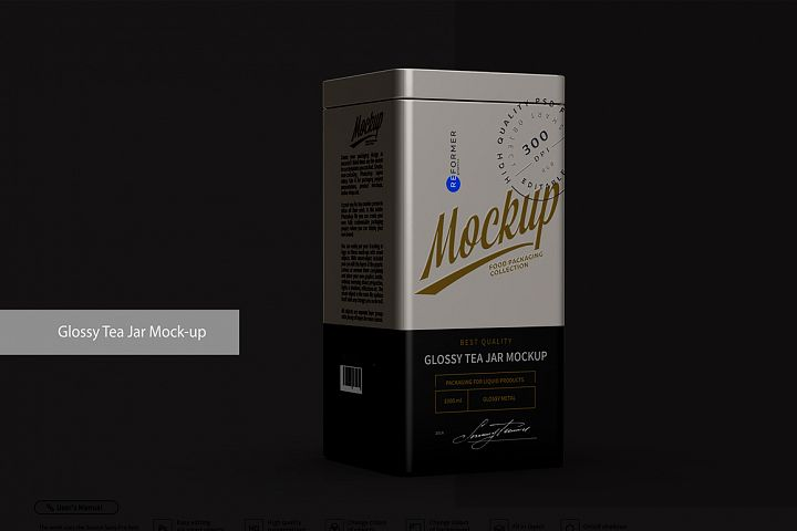 Metallic Glossy Tea Jar Mock-up