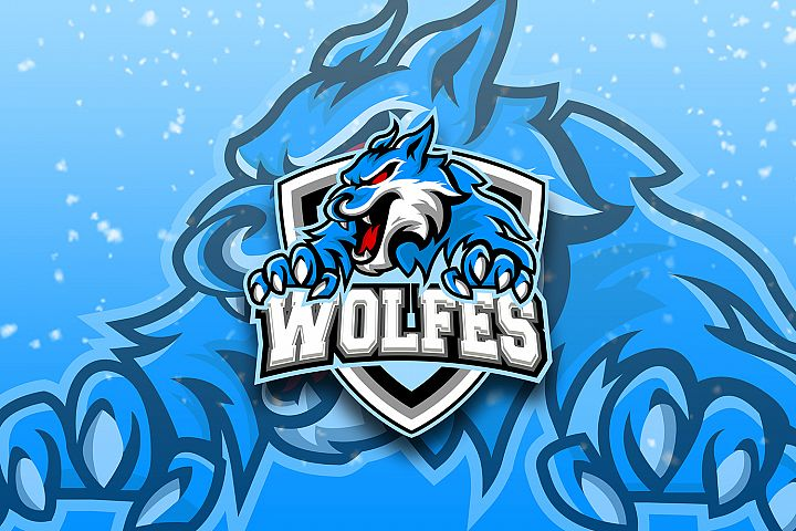 WOLF GAMING BLUE E-SPORTS LOGO