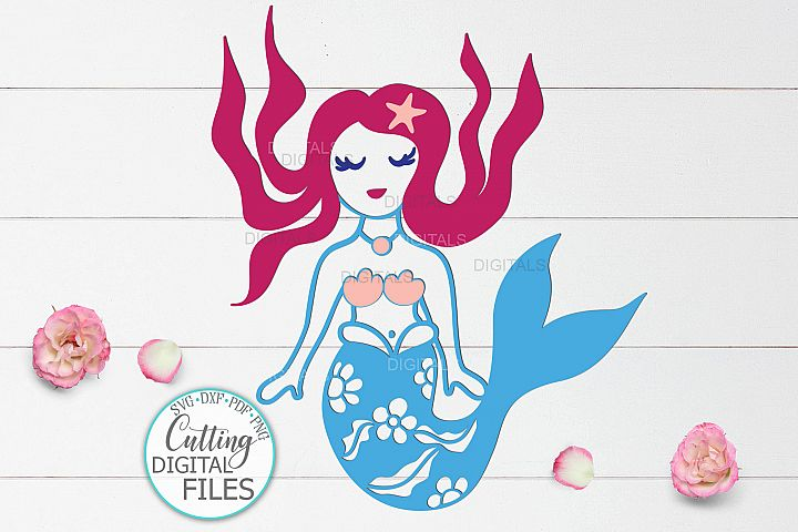 Cute little mermaid under the sea Summer cut file svg dxf