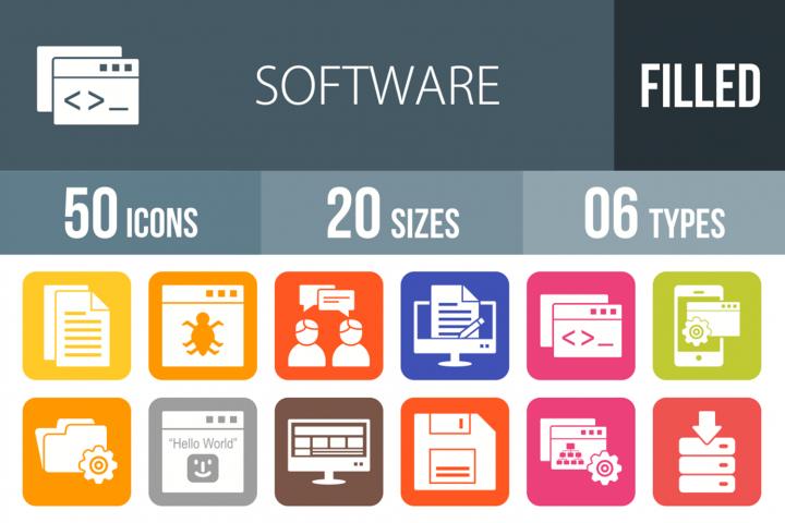 50 Software Development Filled Round Corner Icons
