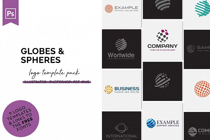 Globes & Spheres Logo Design Set
