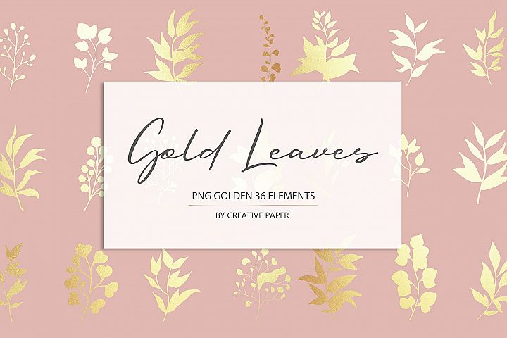Gold Leaves PNG Golden 36 Elements
