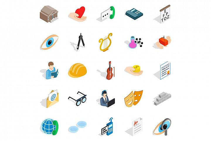 Theater icons set, isometric style