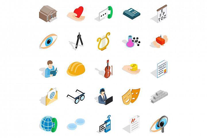 Theater icons set, isometric style