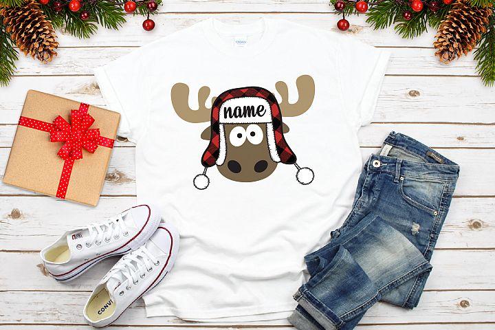 Christmas moose with plaid bomber hat SVG, plaid Christmas