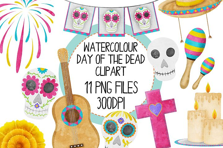 Watercolor Day Of The Dead Clipart Set