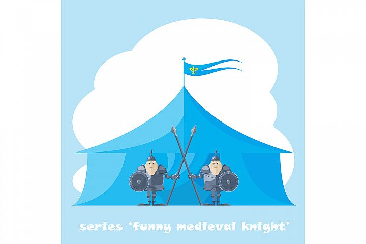 2 figure funny medieval knight or soldier.  Vector illustration (eps10)